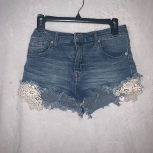 High Rise Denim Shorts with Lace